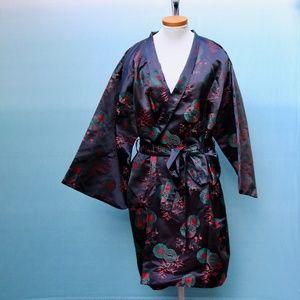 Vintage Japanese Black Floral Kimono Robe One Size